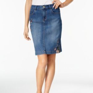 Style & Co Embroidered Denim Skirt